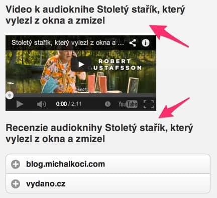 Video a recenzie audioknihy na mobilnom webe