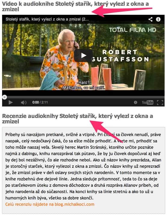 Video a recenzie audioknihy