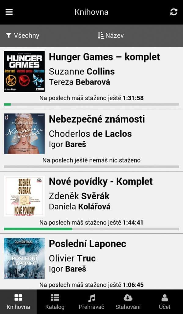 Knihovna audioknih v mobilní aplikaci - Filtrování a třídění audioknih