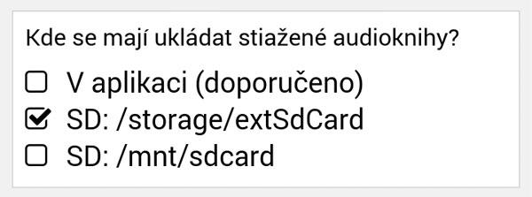 Nastavenie úložiska - podpora SD kariet