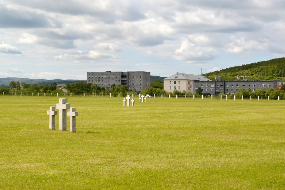 View of a Russian-German memorial cemetery. Settlement of Pechenga, Murmansk region